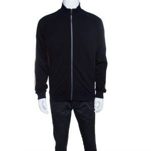 Z Zegna Techmerino Navy Blue Wool Contrast Striped Panel Zip Front Sweatshirt L