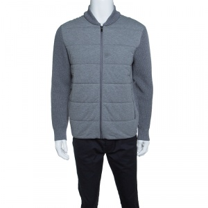 Z Zegna Grey Quilted Front Panel Chunky Knit Zip Front Cardigan L