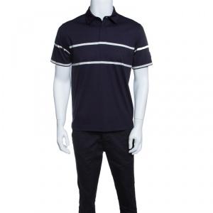 Z Zegna Technomerino Navy Blue Contrast Striped Wool Jersey Polo T-Shirt M