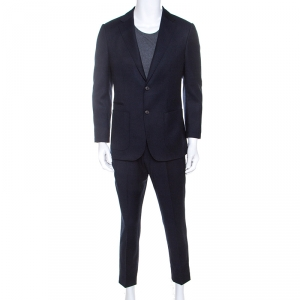 Z Zegna Navy Blue Wool Techmerino Slim Fit Suit M