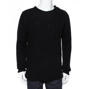 Zadig & Voltaire Black Distressed Knit Merino Wool Jeremy Raye Sweater L - used