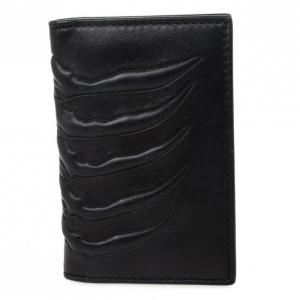 Alexander McQueen Black Spine-Embossed Credit Card Holder