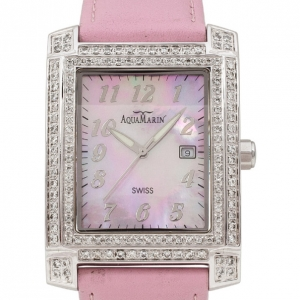 AquaMarin Diamond Mother of Pearl SS Leather Womens Wristwatch 34 MM