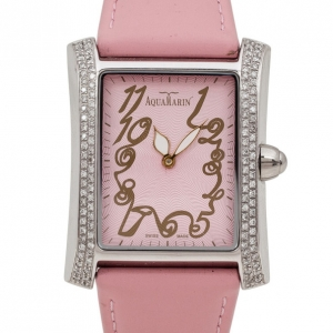 AquaMarin Harmonie Diamond SS Leather Womens Watch 34 MM