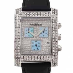 AquaMarin Diamond Chronograph SS Leather Womens Wristwatch 34 MM