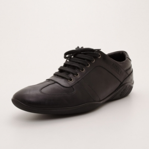 Armani Collezioni Black Leather Men's Sneakers Size 43