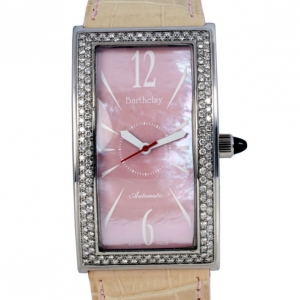 Barthelay Pink Mother Of Pearl Diamond Fond Acier Womens Wristwatch 30 MM