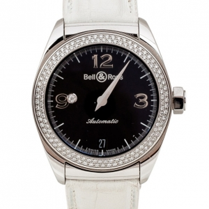 Bell & Ross Mystery Diamond SS Leather Womens Wristwatch 34 MM