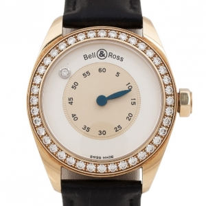 Bell & Ross Mystery 18K Yellow Gold Diamond Leather Womens Wristwatch 34 MM