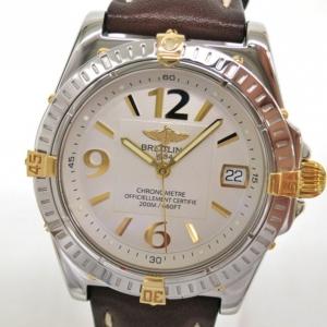 Breitling Callistino Wristwatch SS YG Leather White Ladies