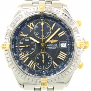 Breitling Piccolo Chronomat SS Yellow Gold Black Mens Wristwatch