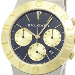 Bvlgari Black 18K Yellow Gold & Stainless Steel Diagono Men's Wristwatch 35MM