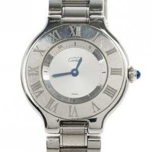 Cartier Silver Stainless Steel 21 Must de Cartier Women's Wristwatch 27.5MM