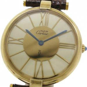Cartier Gold Plated Silver Vermeil Womens Wristwatch 30 MM