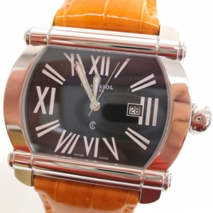Philippe Charriol SS Leather Black Actor Mens Wristwatch