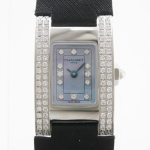 Chaumet Classic SS Leather Blue Mother of Pearl and Diamond Womens Wristwatch 38 MM