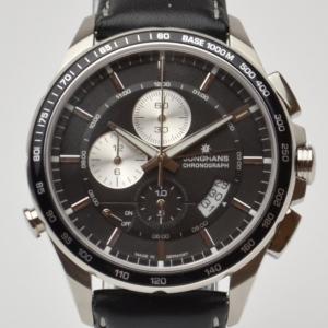 Erhard Junghans Black Chronograph Mens Wristwatch