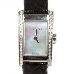 Gucci 8600L Mother of Pearl Diamond SS Leather Womens Wristwatch 26 MM
