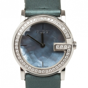 Gucci 101L Mother of Pearl Diamond SS Fabric Womens Wristwatch 28 MM