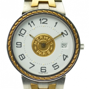 Hermes Classic SS 18K Gold & White Ladies  Wristwatch