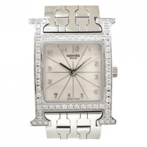 Hermes H Watch Diamond SS White Womens Wristwatch 22 MM