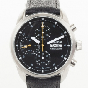 Junghans Ambassador SS Leather Chronograph Black Mens Wristwatch 42.5 MM