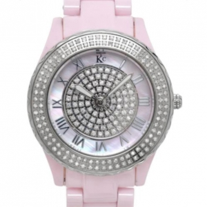 KC Diamond Ceramic SS Pink Ladies Wristwatch