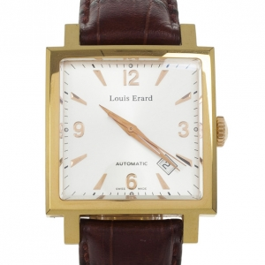 Louis Erard La Carree Classique Rare Square Stainless Steel Leather Automatic Mens Wristwatch 34 MM