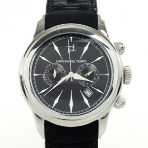 Officina Del Tempo SS Leather Chronograph Mens Wristwatch 44MM