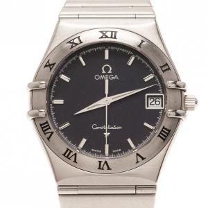 Omega Black Stainless Steel Constellation Women's Wristwatch 32MM