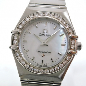 Omega Constellation Diamond Bezel Wristwatch SS Shell Ladies