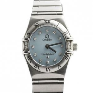 Omega Blue Stainless Steel Constellation Women's Wristwatch 22MM