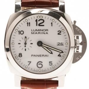 ساعة بانيراي لومينار مارينا 1950 بيضاء ستانلس ستيل للرجال 42مم