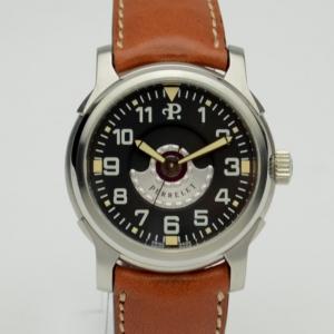 Perrelet Brown Leather Air Zermatt Black & Silver Mens Wristwatch