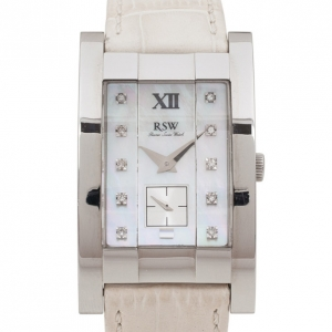 Rama Swiss Watch 9920 Mother of Pearl SS eather Womens Wristwatch 30 MM