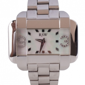 Rama Swiss Watch Mother of Pearl Diamond SS Mens Wristwatch 50 MM
