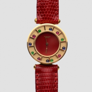Robergé Red Casino 18 K Yellow Gold Red Women Wristwatch 30 MM