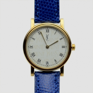Yves Saint Laurent Gold Plated Blue Classic Collection Ladies Wristwatch
