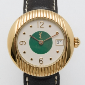 Yves Saint Laurent Gold Plated Two Toned Dial Ladies Wristwatch