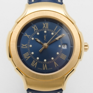 Yves Saint Laurent Date Gold Plated Classic Collection Unisex Wristwatch