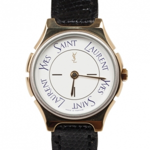 Yves Saint Laurent SS Leather Womens Wristwatch 26 MM