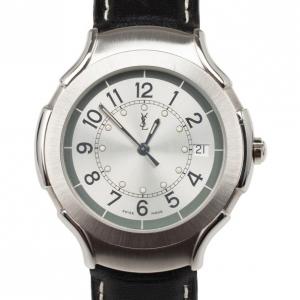 Yves Saint Laurent SS Leather Silver Trim Womens Wristwatch 36 MM
