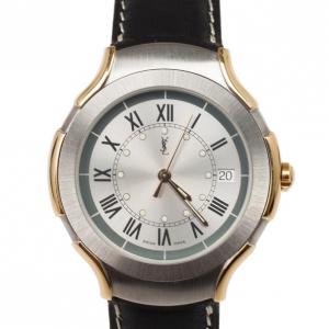 Yves Saint Laurent SS Leather Gold Trim Womens Wristwatch 36 MM