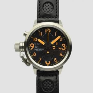 U-Boat Flight Deck SS Black Chronograph Mens Wristwatch 43 MM