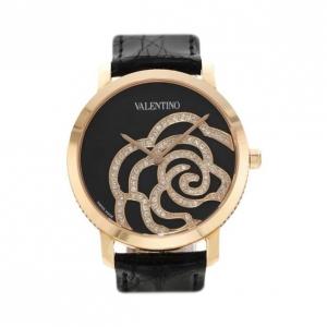 Valentino Swiss Movement Diamond SS Black Ladies Wristwatch