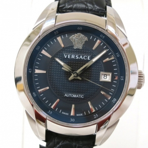 Versace Character Wristwatch SS Leather Black Mens