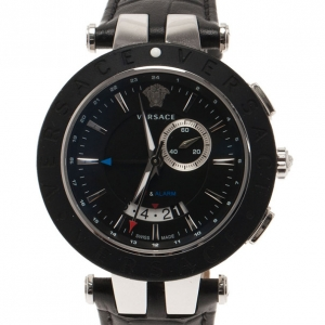Versace Black Stainless Steel and Rubber V Race 29 G Men's Wristwatch 45MM