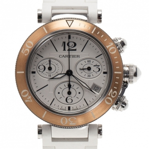 Cartier White Stainless Steel Pasha Seatimer LM Unisex Wristwatch 38MM