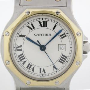 Cartier Santos Octagon 18 K Yellow Gold Steel Unisex Wristwatch 30 MM