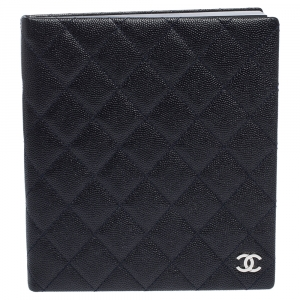 Chanel Navy Blue Quilted Leather Agenda Notebook